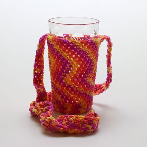 Glashalter gehäkelt, rot-orange (mit Glas)