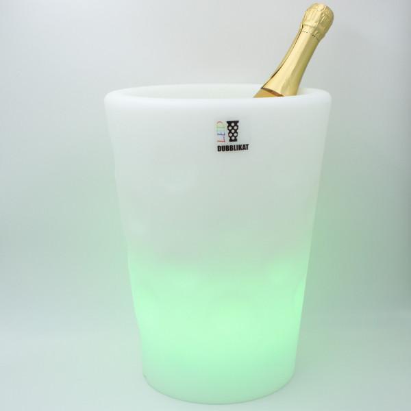 Dubbeglas Flaschenkühler mit LED - Wein-und Sektkühler LED - grüne Beleuchtung