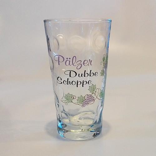 """Dubbeglas mit Aufdruck: """"Pälzer Dubbe Schoppe"""", 0,5 Liter"""