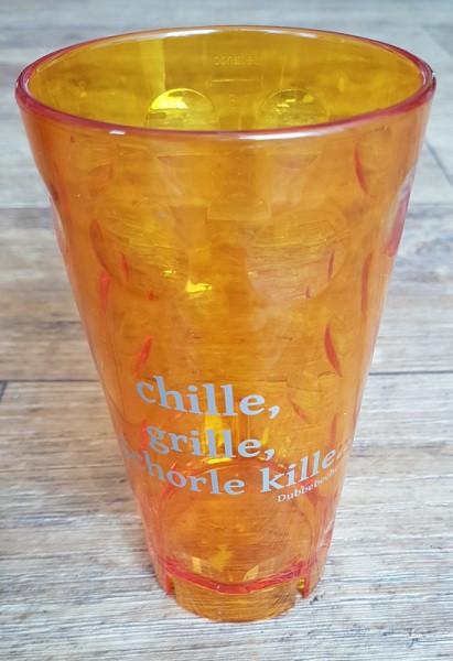"""Dubbeglas aus Kunststoff, Aufdruck: """"chille, grille, Schorle kille"""", orange, unzerbrechlich, 0,5 Liter"""