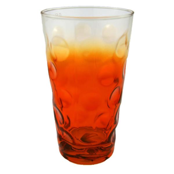 Farbiges Dubbeglas orange, 3/4 gefärbt, 0,5 Liter
